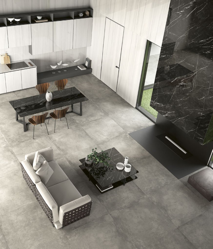 living room porcelain slab