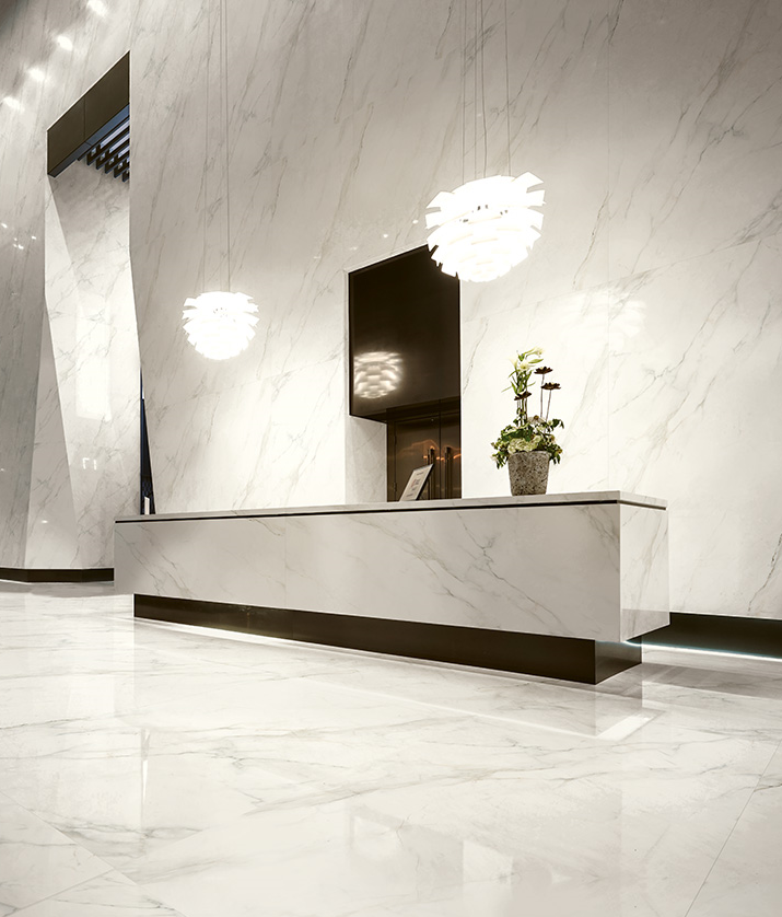 reception desk - ceramic slab